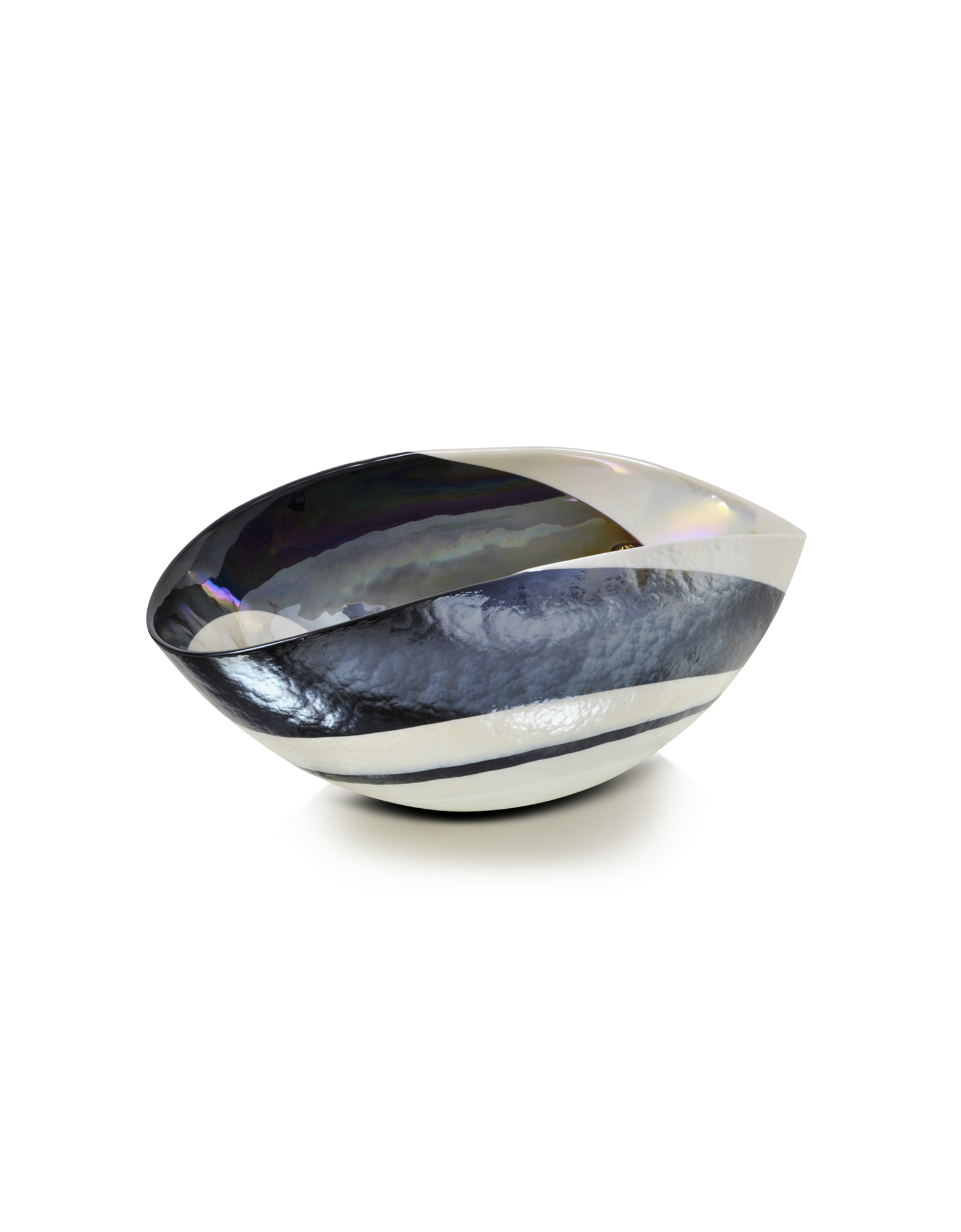 Image of Cartoccio - Small Black and Mother of Pearl Swirl Murano Glass Folded Bowl