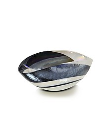 Cartoccio - Small Black and Mother of Pearl Swirl Murano Glass Folded Bowl - Yalos Murano