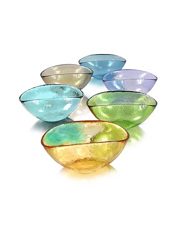 Yalos Murano - Happy Fruit - 6 Colored Murano Glass Bowls