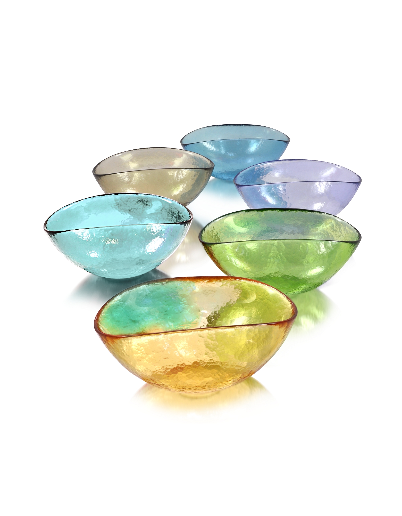 Yalos Murano Kitchen & Dining, Happy Fruit - 6 Colored Murano Glass Bowls