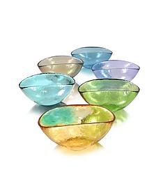 Happy Fruit - 6 Цветных Глубоких Тарелок из Стекла Мурано - Yalos Murano