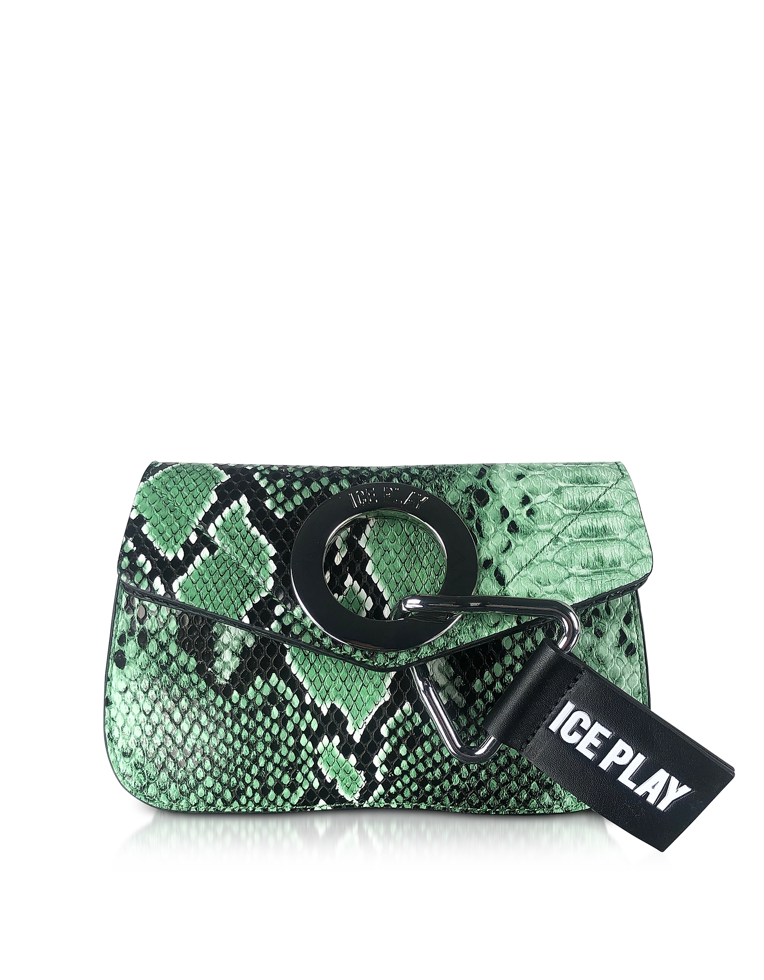 Ice Play Designer Handbags, Emerald Green Python Printed Eco-Leather Clutch