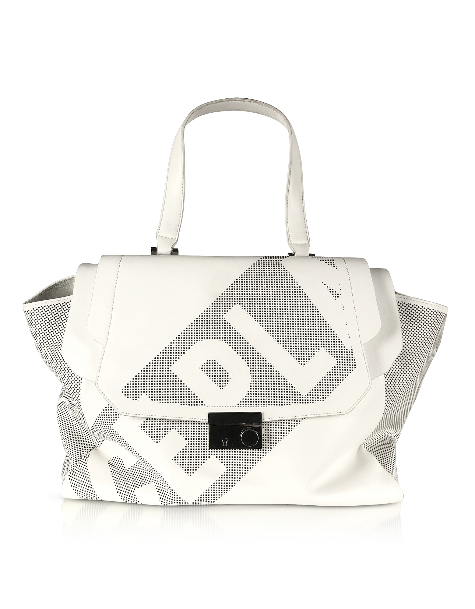 Ice Play Designer Handbags, Black & White Signature Satchel Bag