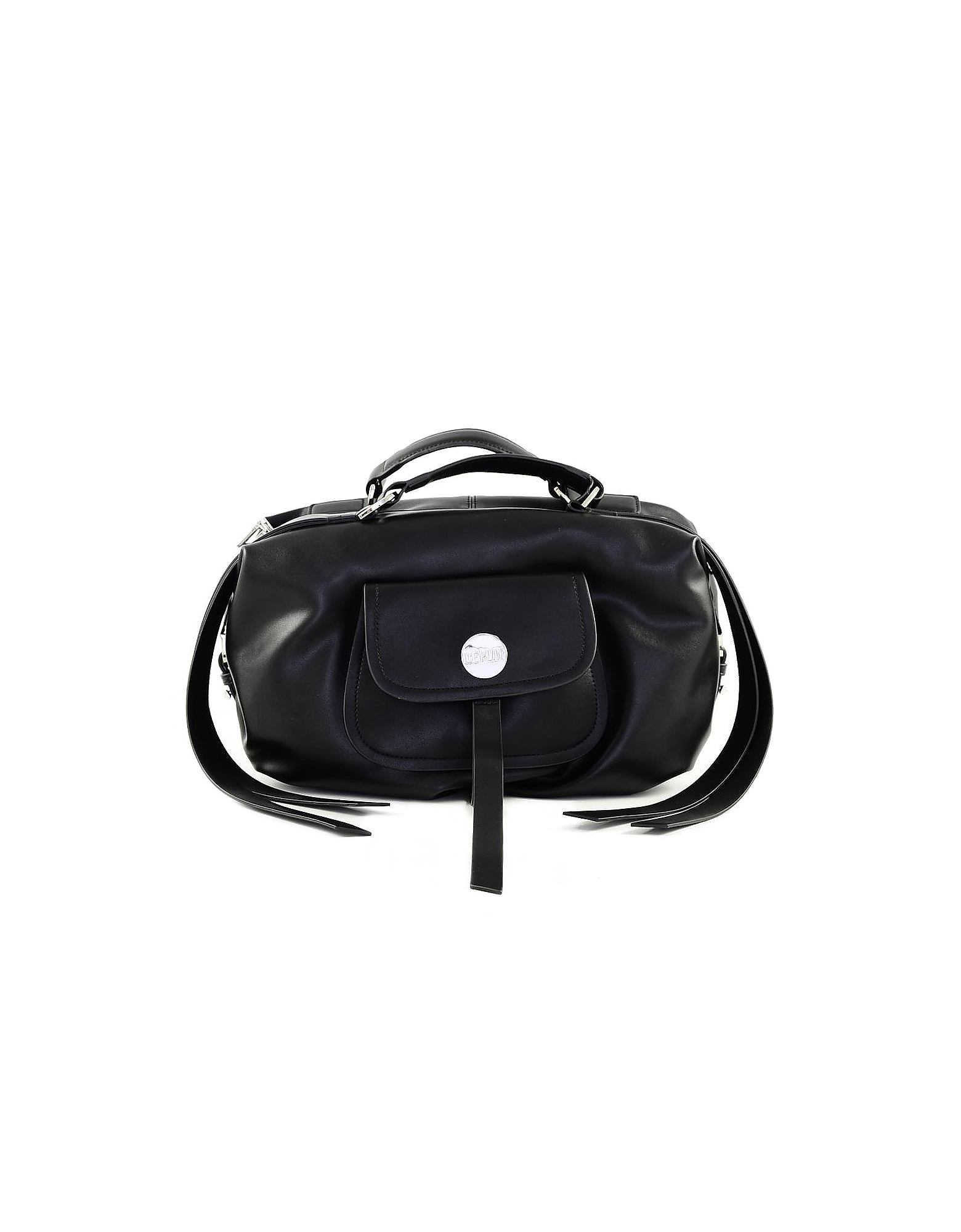 Ice Play Designer Handbags, Black Front Zip Tote