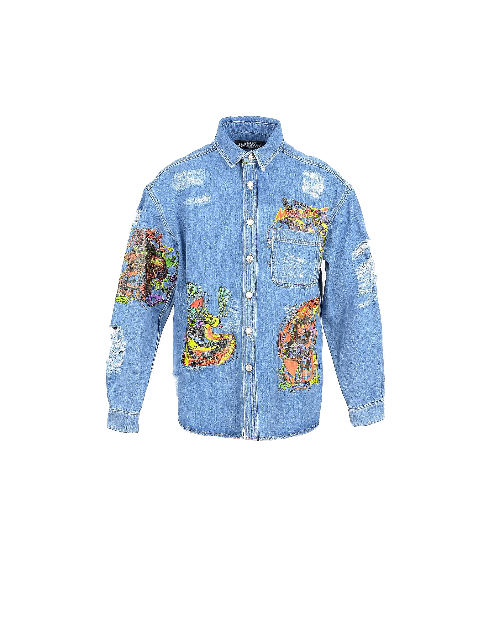 Jeremy Scott Designer Shirts, Distressed Denim Men's Shirt w/Patches
