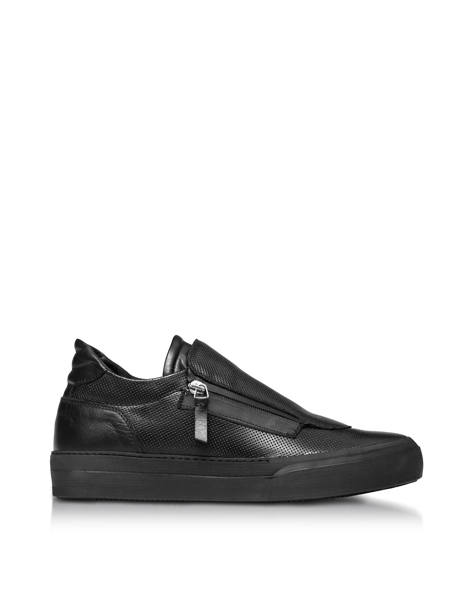 Giove - Черные Пефорированные Мужские Кроссовки из Кожи Наппа