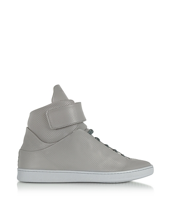 Ylati - Virgilio Grey Perforated Nappa Leather High Top Men's Sneakers