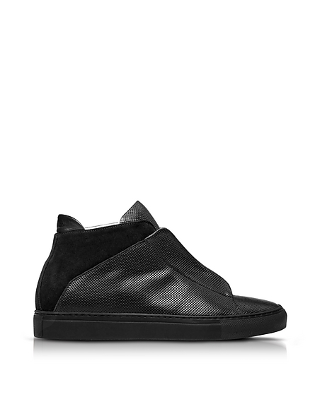 Image of Ylati Nerone Sneakers da Uomo in Pelle Traforata Nera
