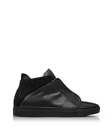 Nerone Black Perforated Leather and Suede High Top Men's Sneakers - Ylati