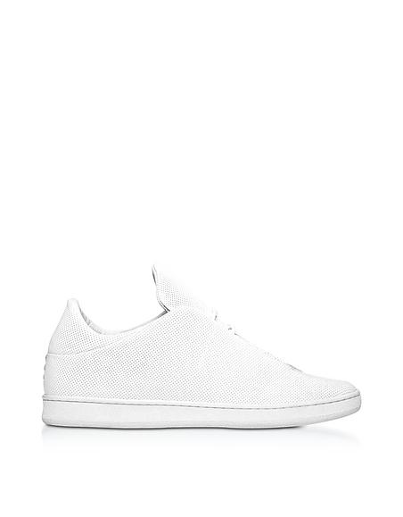 Image of Ylati Virgilio Sneakers da Uomo in Nappa Traforata Bianco Ottico