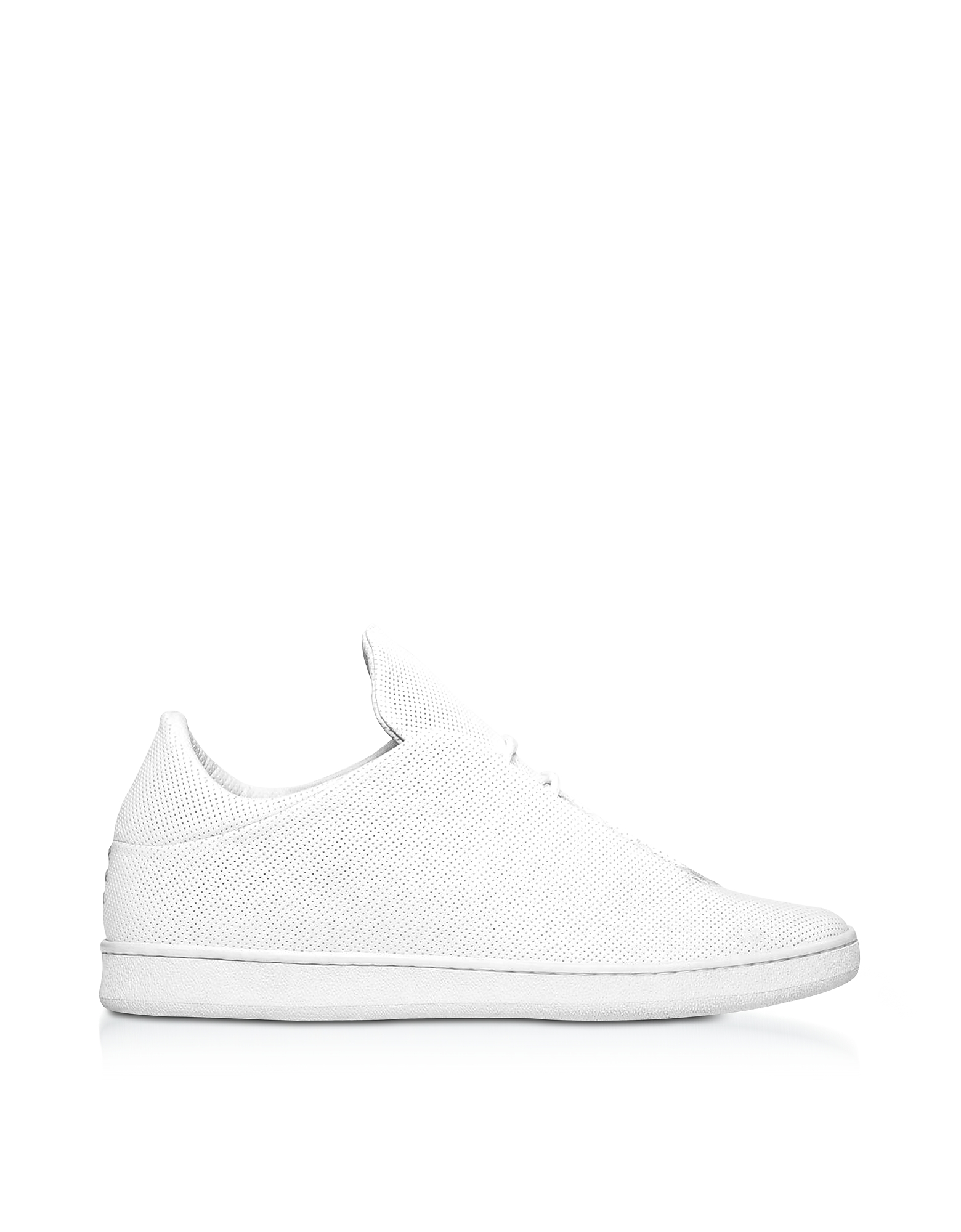 Ylati Shoes, Virgilio White Perforated Nappa Leather Low Top Men's Sneakers