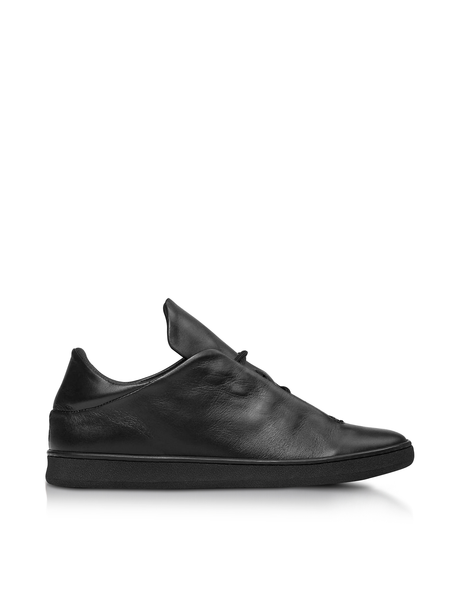 Ylati Shoes, Virgilio Black Nappa Leather Low Top Men's Sneakers