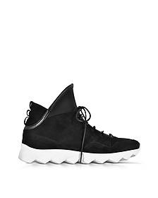 Dedalo Black Nabuk and Nappa Leather Men's Sneakers - Ylati