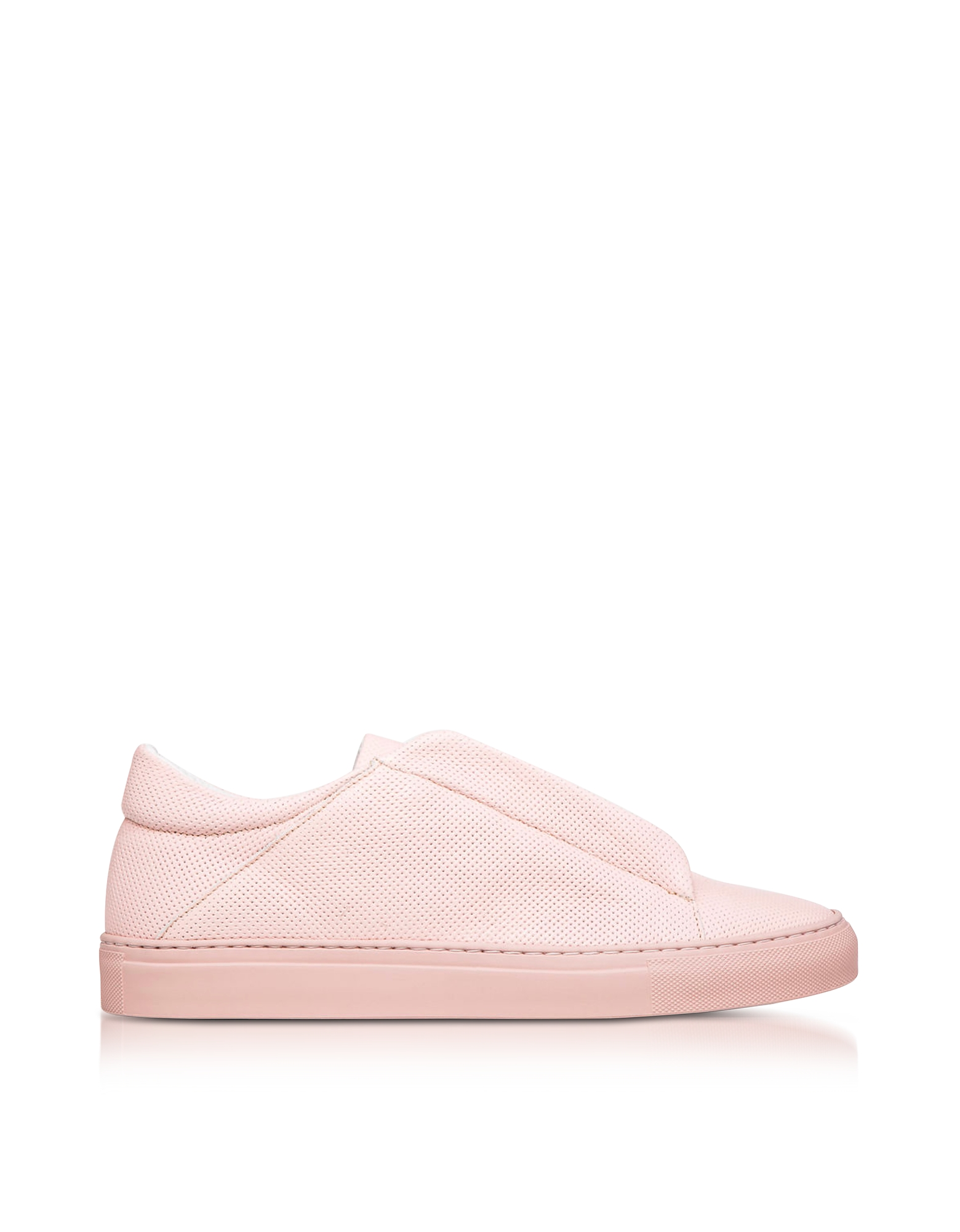 Ylati Shoes, Nerone Pink Perforated Leather Low Top Men's Sneakers