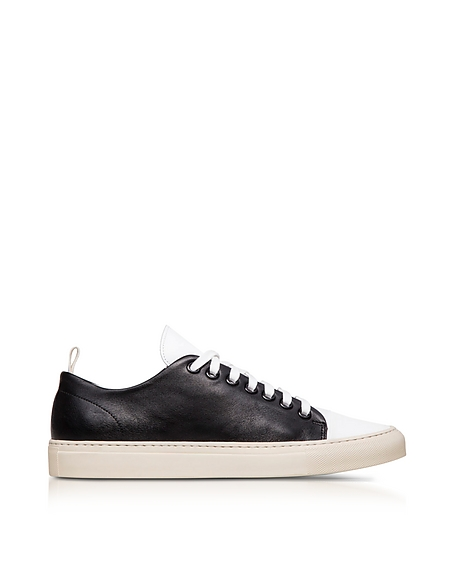 Ylati Sorrento Black and White Leather Low Top Mens Sneakers