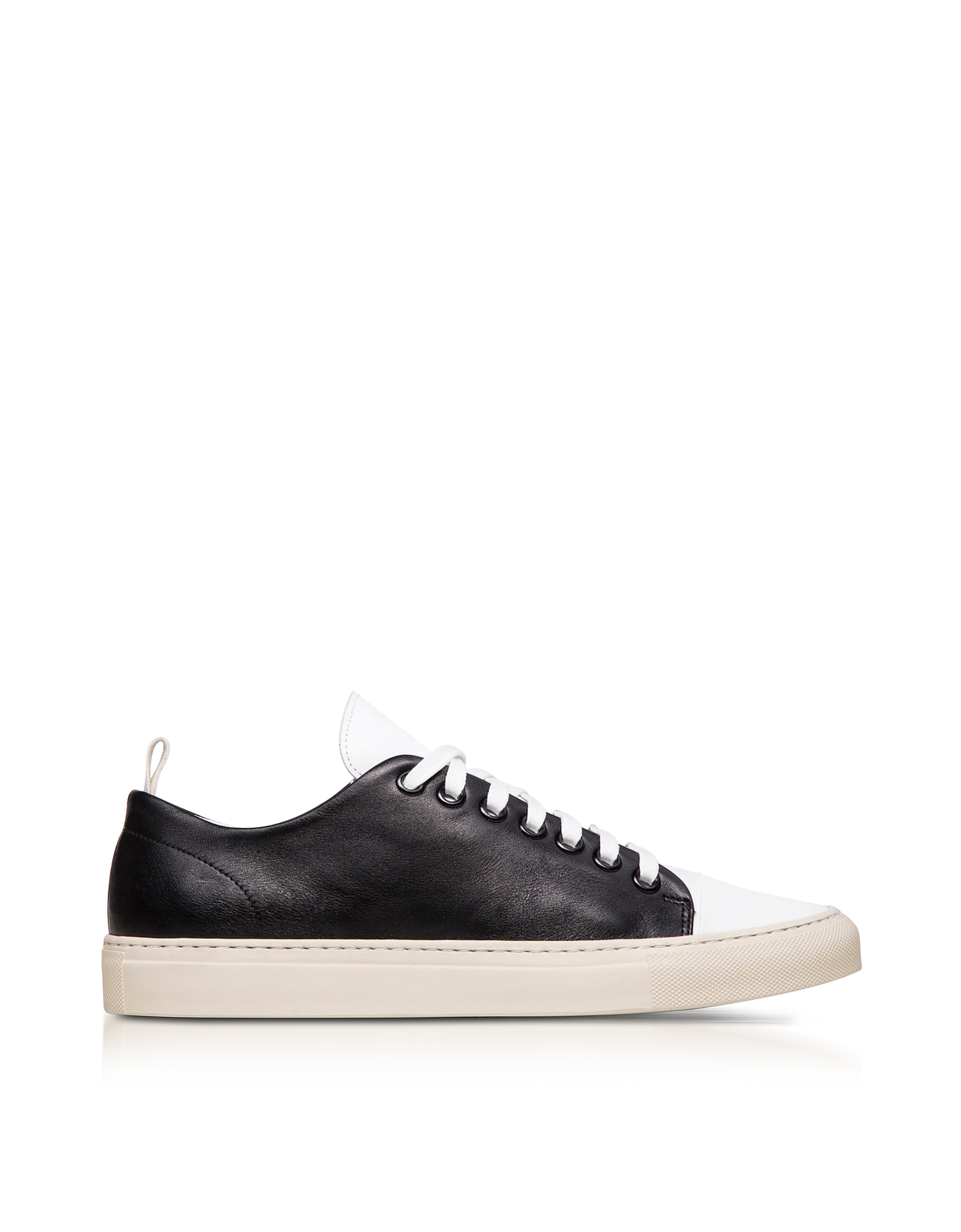 Image of Ylati Designer Shoes, Sorrento Black and White Leather Low Top Men's Sneakers