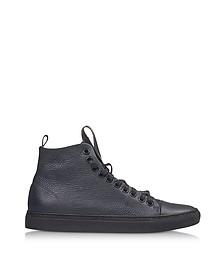 Sorrento High Dark Blue Leather Men's Sneaker - Ylati