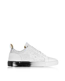 Amalfi Low Sneaker in Pelle Laser Cut Bianco/Nero - Ylati