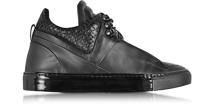 Poseidon Upper Black Leather Men's Sneaker - Ylati