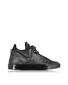 Poseidon Upper - Sneakers Basses Homme en Cuir et Suède Noir - Ylati