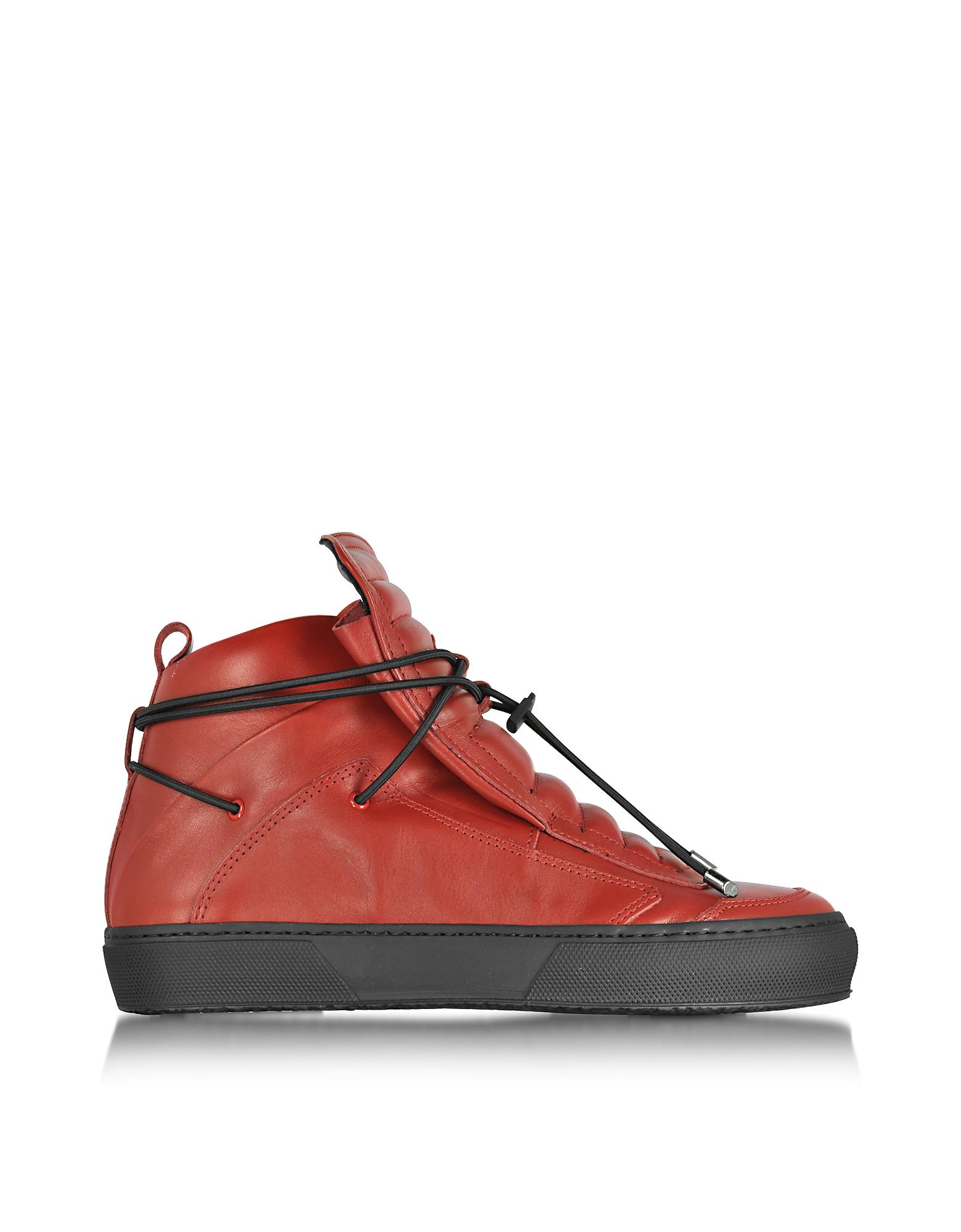 Ulisse - Высокие Красные Кожаные Кеды