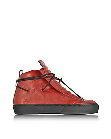 Ulisse Red Leather High Top Sneaker - Ylati