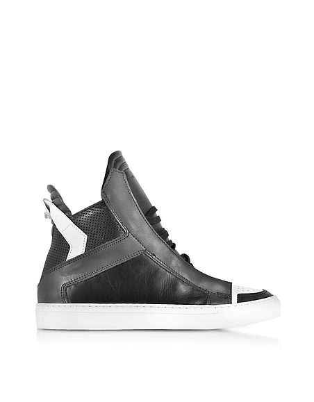 Image of Ylati Zaus Sneaker High Top in Pelle Nero/Antracite/Bianco