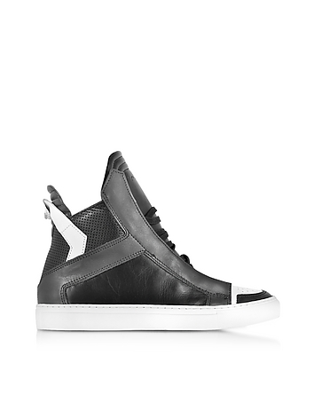 Zeus Black Dark Grey and White Leather High Top Sneaker