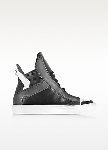 Zeus Black, Dark Grey and White Leather High Top Sneaker - Ylati