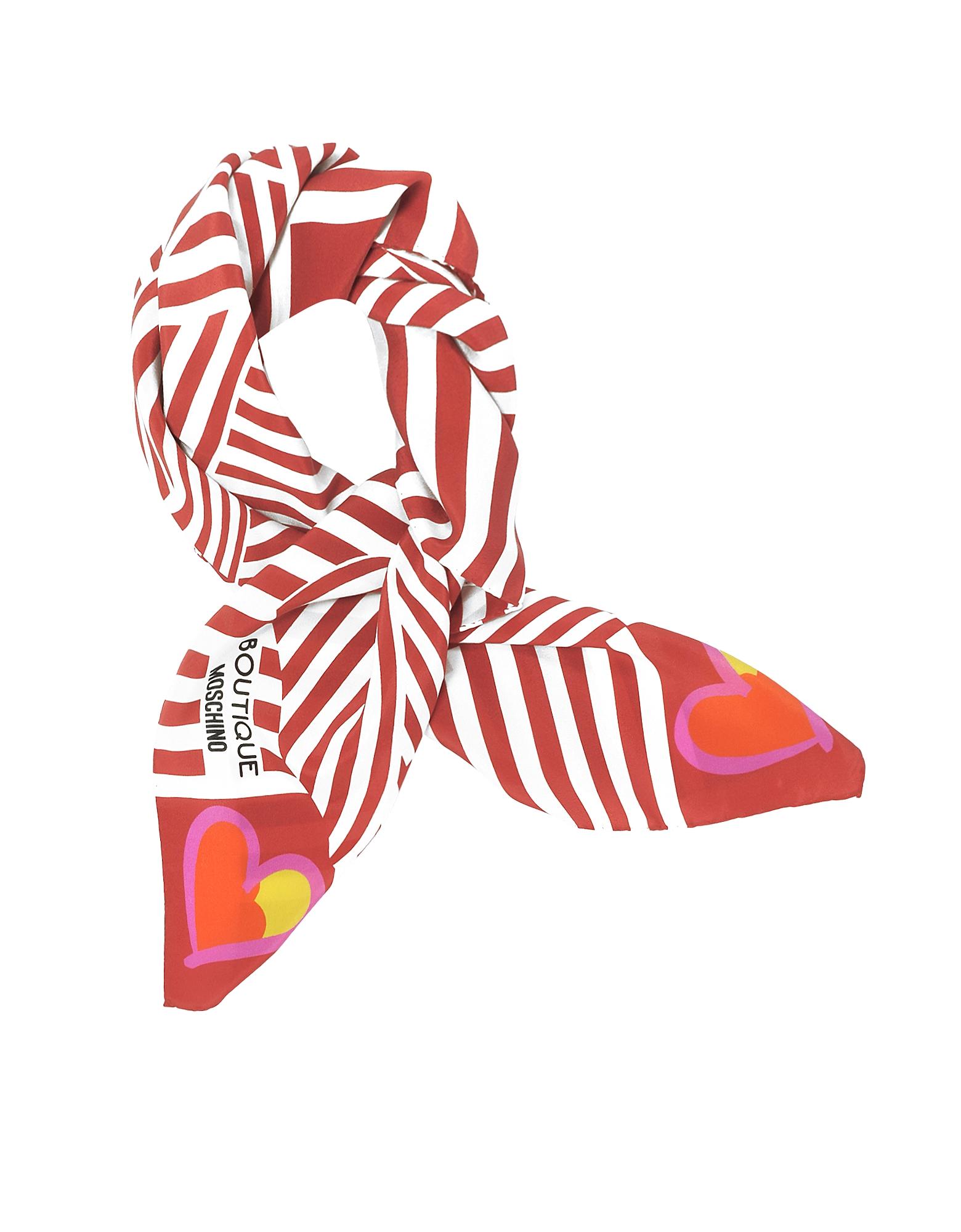 Boutique Moschino - Красная и Белая Косынка из Креп Шелка с Полосками и Принтом Бантов