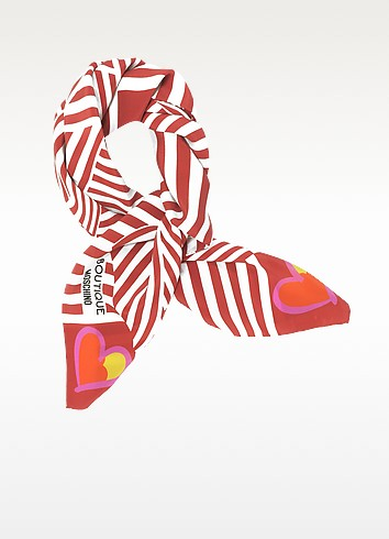 Boutique Moschino Red & White Stripe and Bow Print Crepe Silk Square Scarf - Moschino