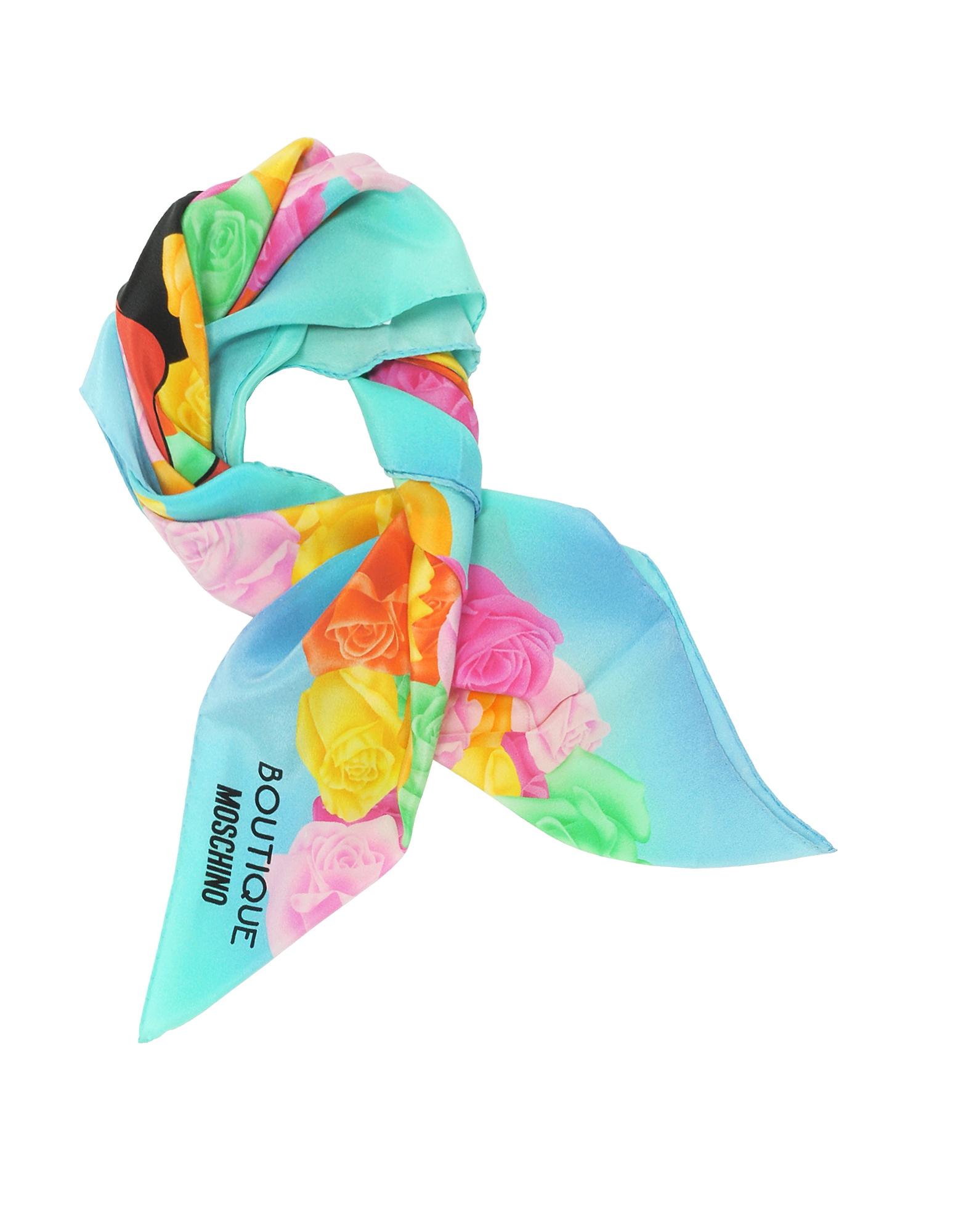 Boutique Moschino - Голубая и Разноцветная Косынка из Креп Шелка с Принтом Роз и Olive Oyl
