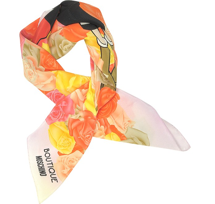 Boutique Moschino Pink and Multicolor Olive Oyl Cartoon & Roses Printed Crepe Silk Square Scarf - Moschino