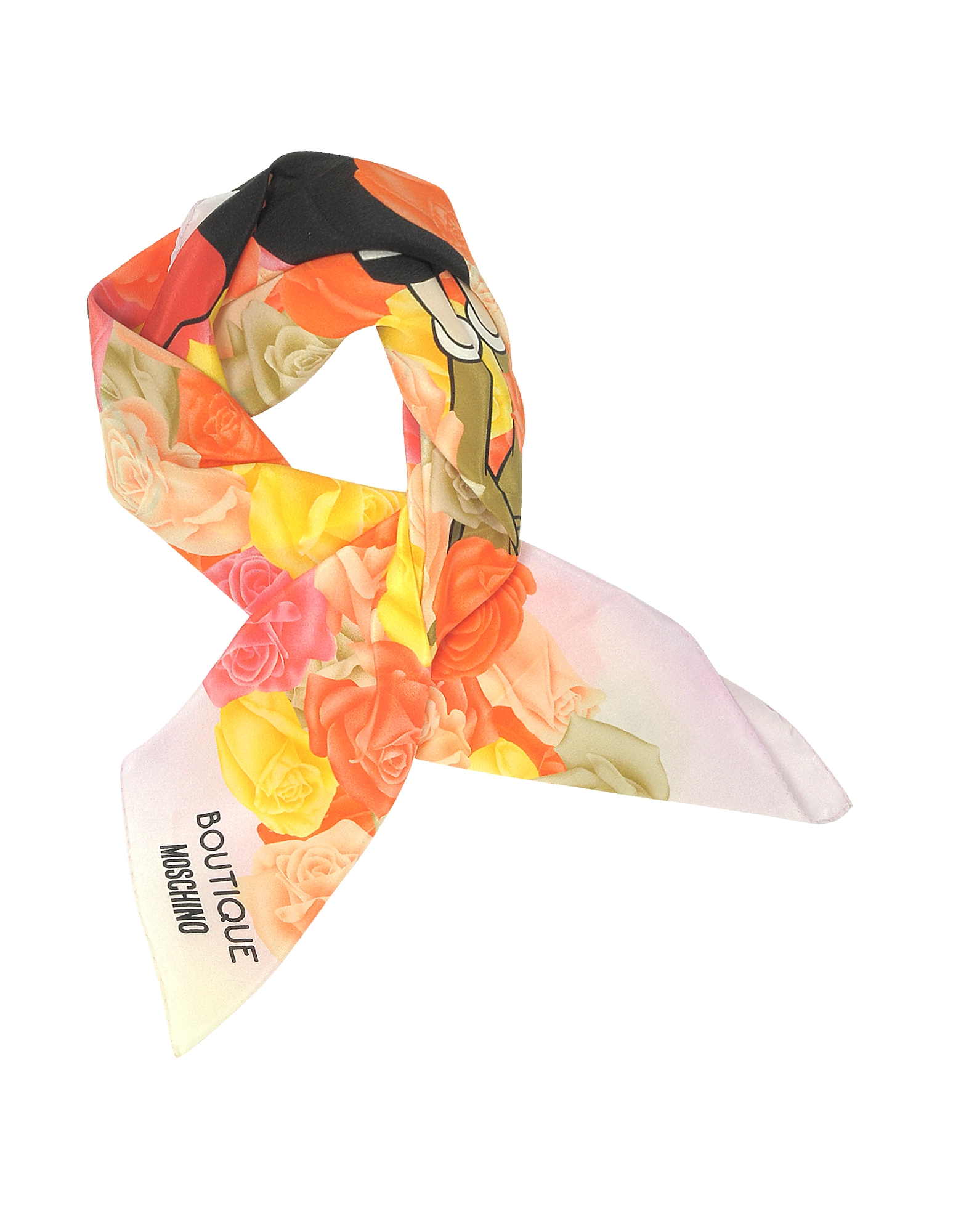 Boutique Moschino Pink and Multicolor Olive Oyl Cartoon & Roses Printed Crepe Silk Square Scarf