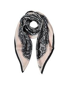 Boutique Moschino Lace Print Silk Square Scarf - Moschino