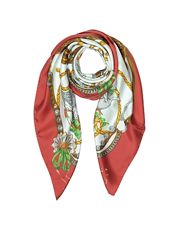 Moschino - Boutique Moschino Geese & Horse Saddles Printed Twill Silk Square Scarf