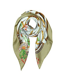Boutique Moschino Geese & Horse Saddles Printed Twill Silk Square Scarf - Moschino