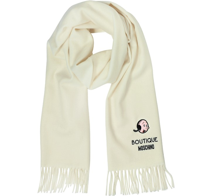 Solid Wool Olive Oil Long Scarf w/Fringe - Moschino