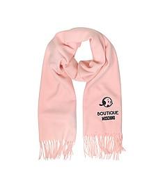 Schal aus Wolle mit Olive Oyl Logo und Fransen - Moschino