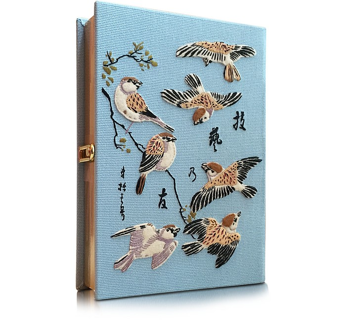 Birds Light Blue Cotton Book Clutch - Olympia Le-Tan