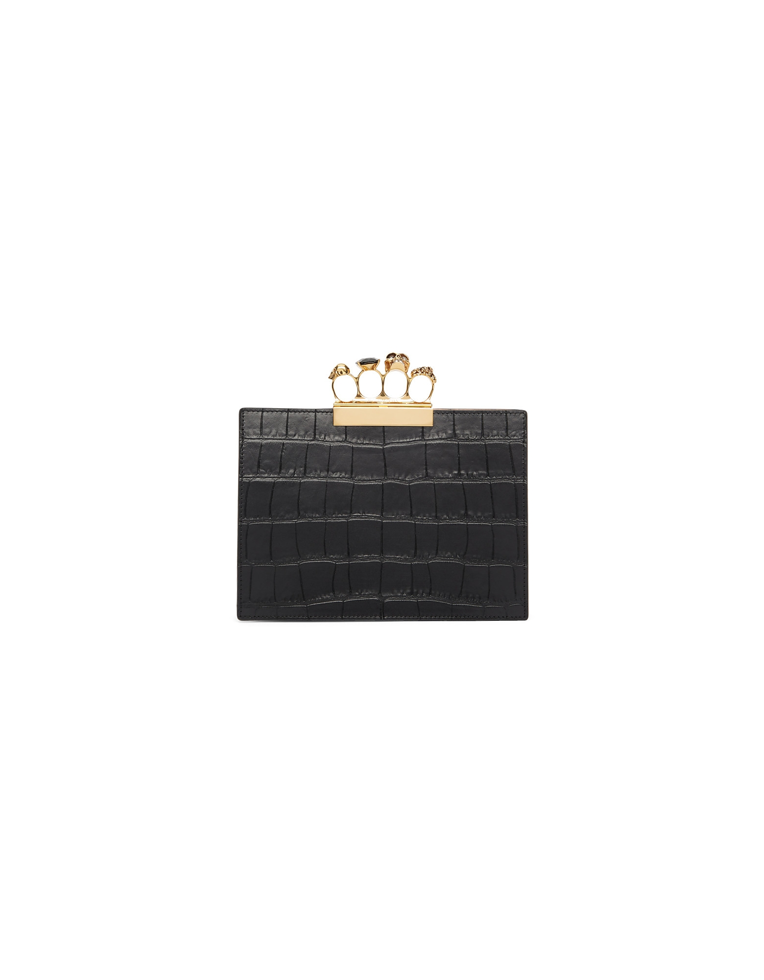 Alexander McQueen Designer Handbags, Black Croc Small Four Ring Clutch