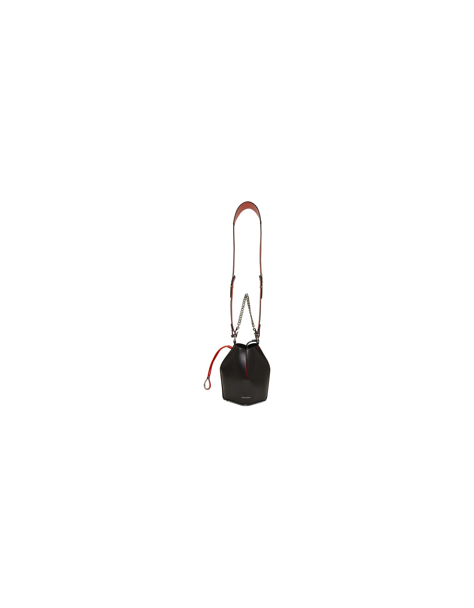Alexander McQueen Designer Handbags, Black and Red Bucket Bag