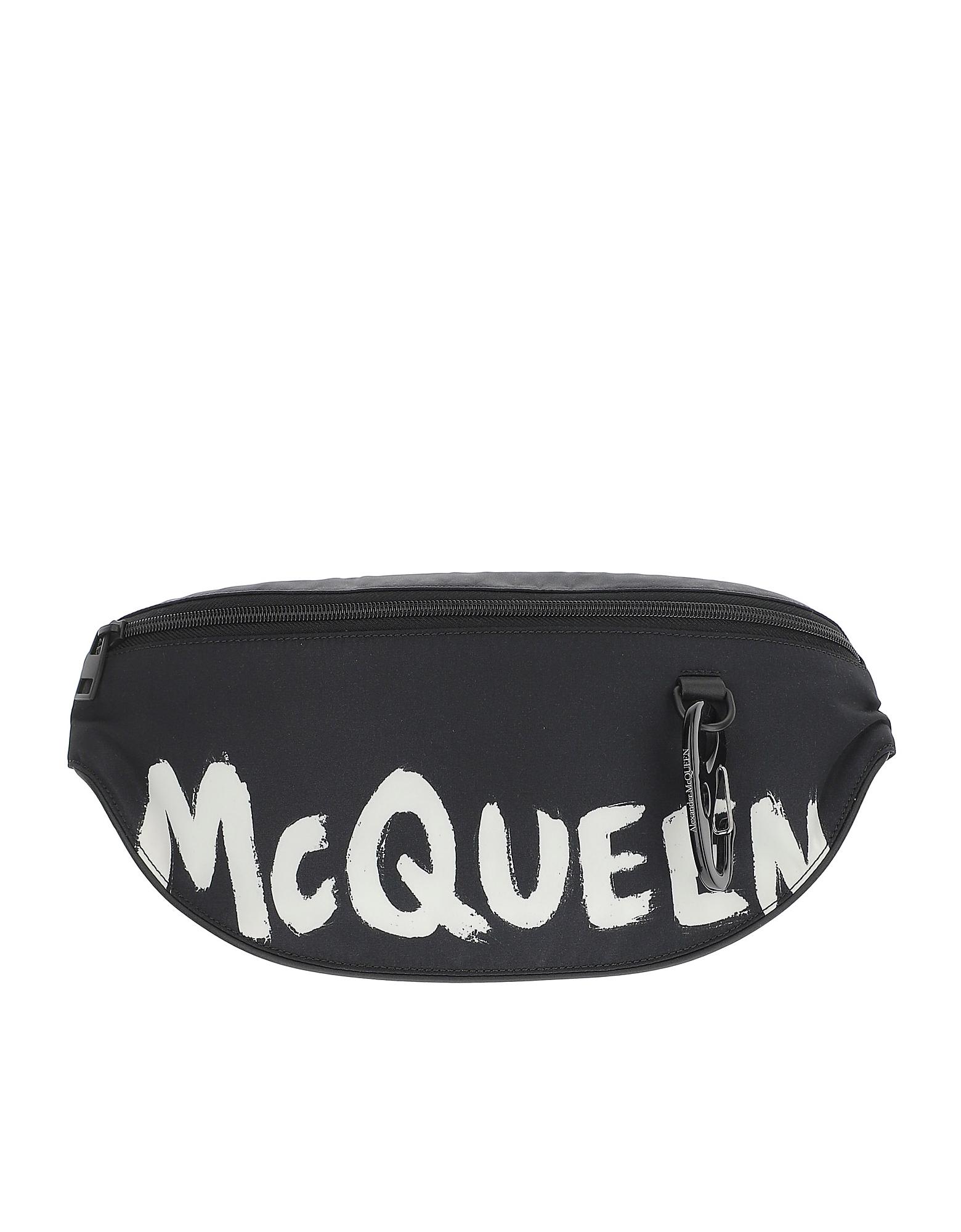 Alexander McQueen Designer Men's Bags, Black Harness Oversize Belt Bag