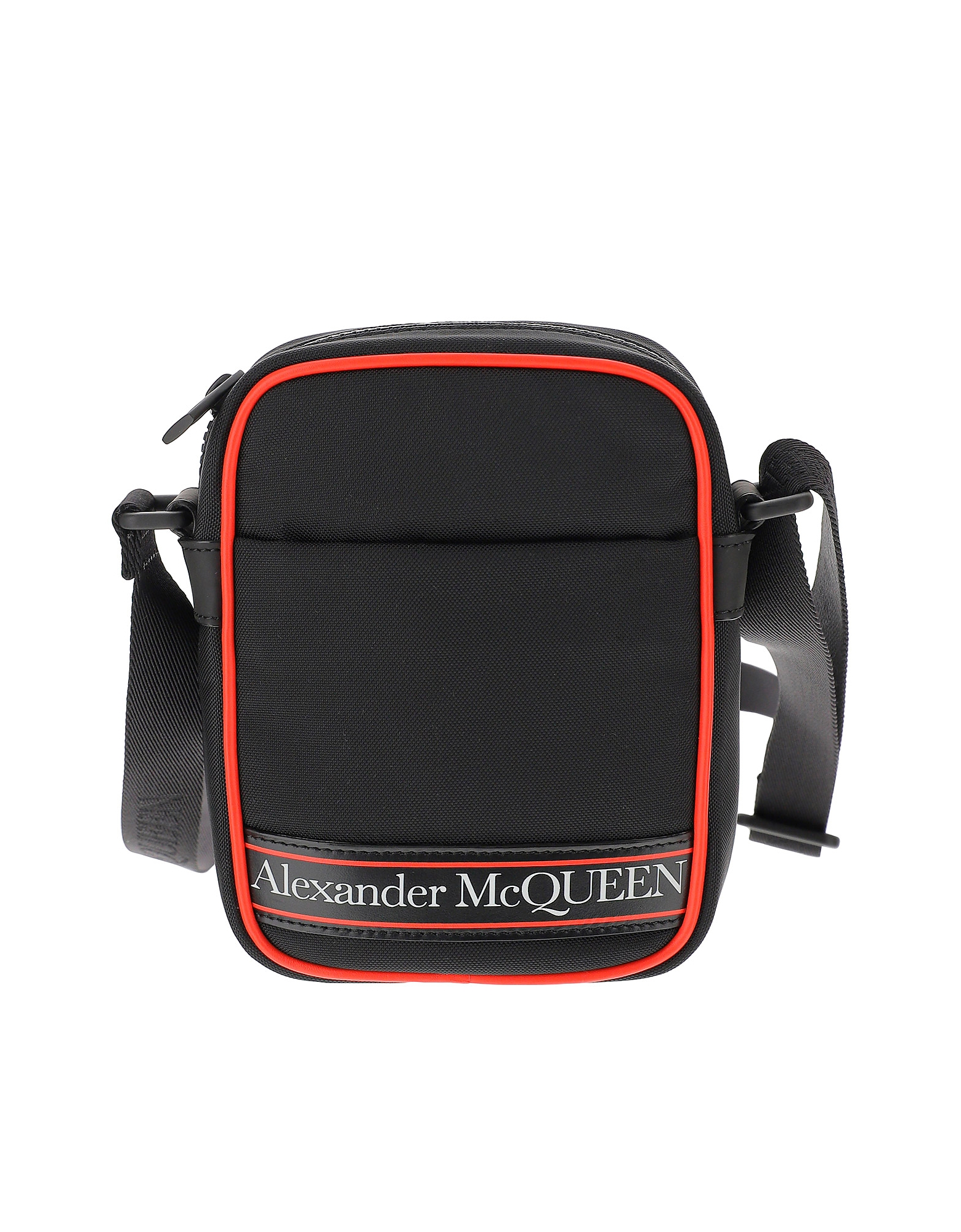 Alexander McQueen Designer Men's Bags, Black and Red Signature Crossbody Bag
