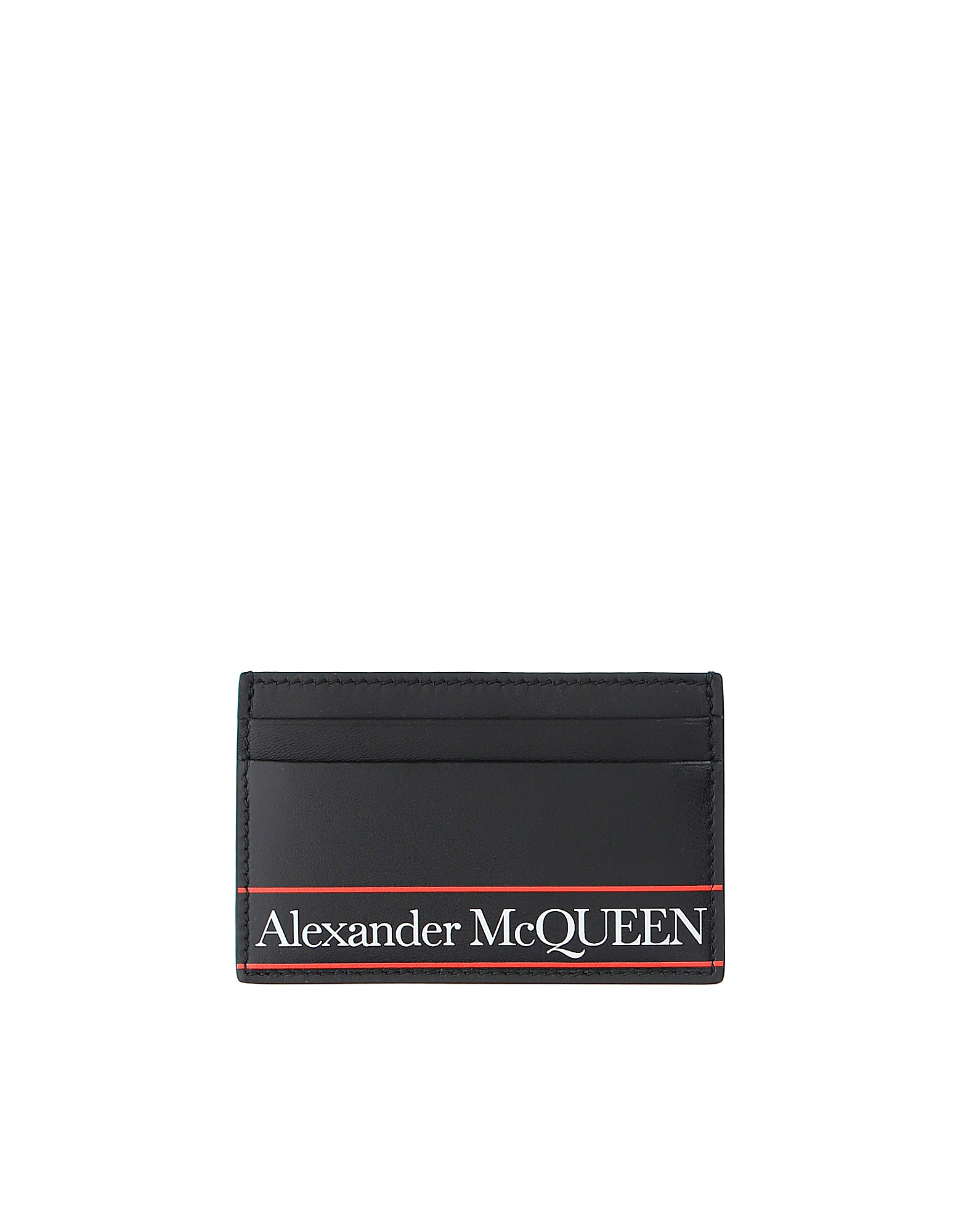 Alexander McQueen Designer Men's Bags, Black and Red Signature Card Holder
