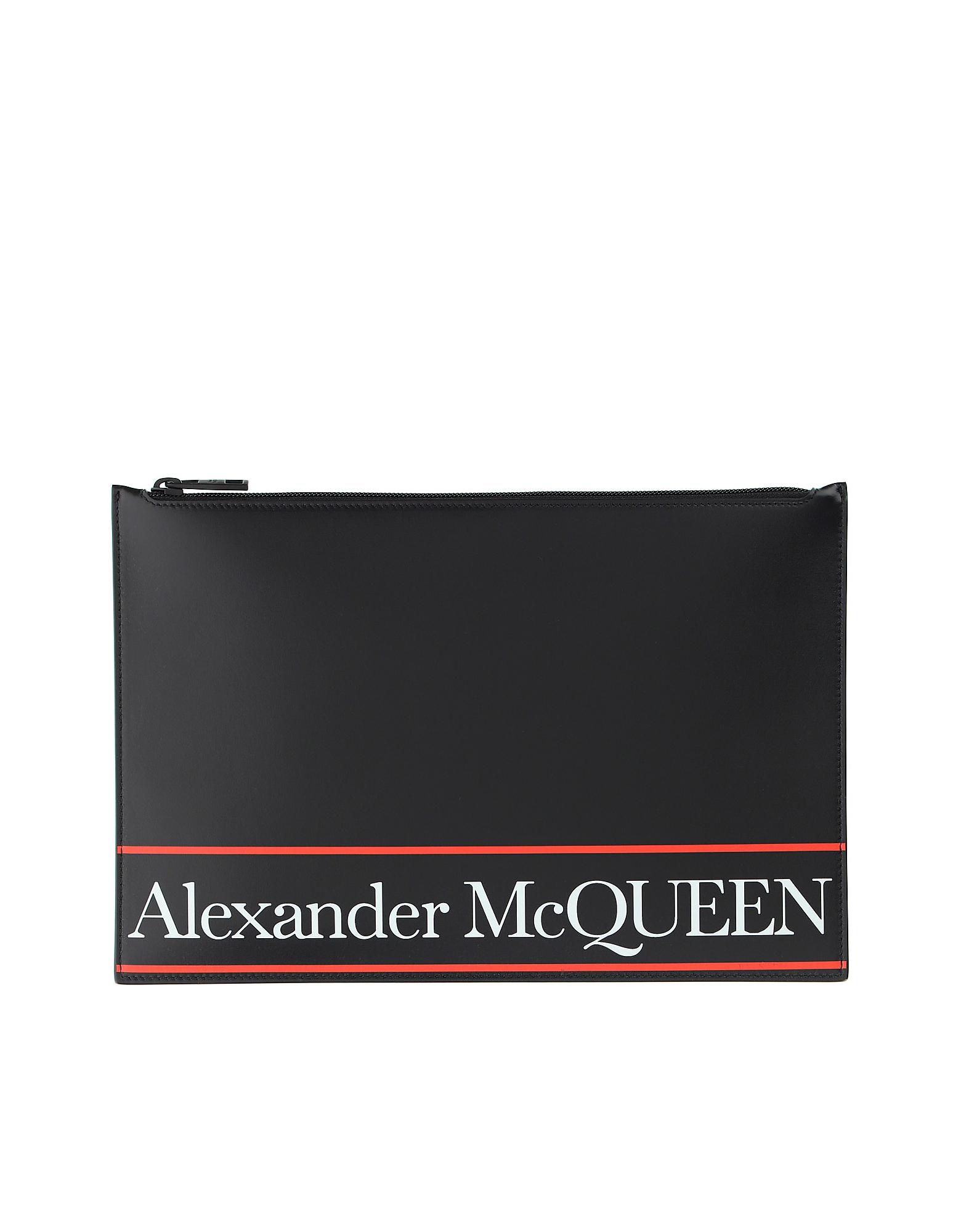 Alexander McQueen Designer Men's Bags, Black & Red Signature Wallet Clutch