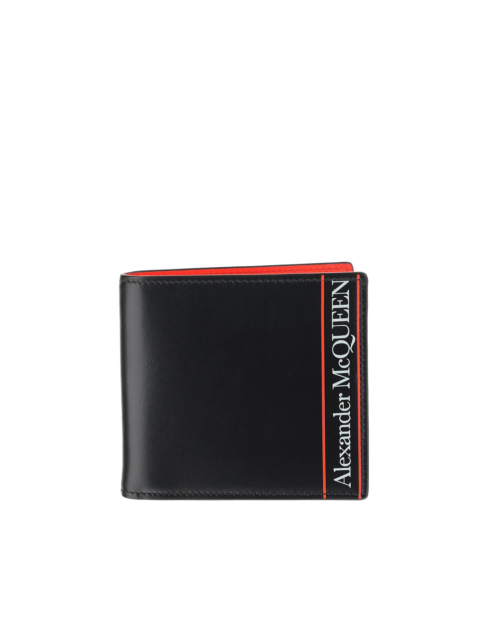 Alexander McQueen Designer Men's Bags, Black & Red Signature Bi-Fold Men's Wallet