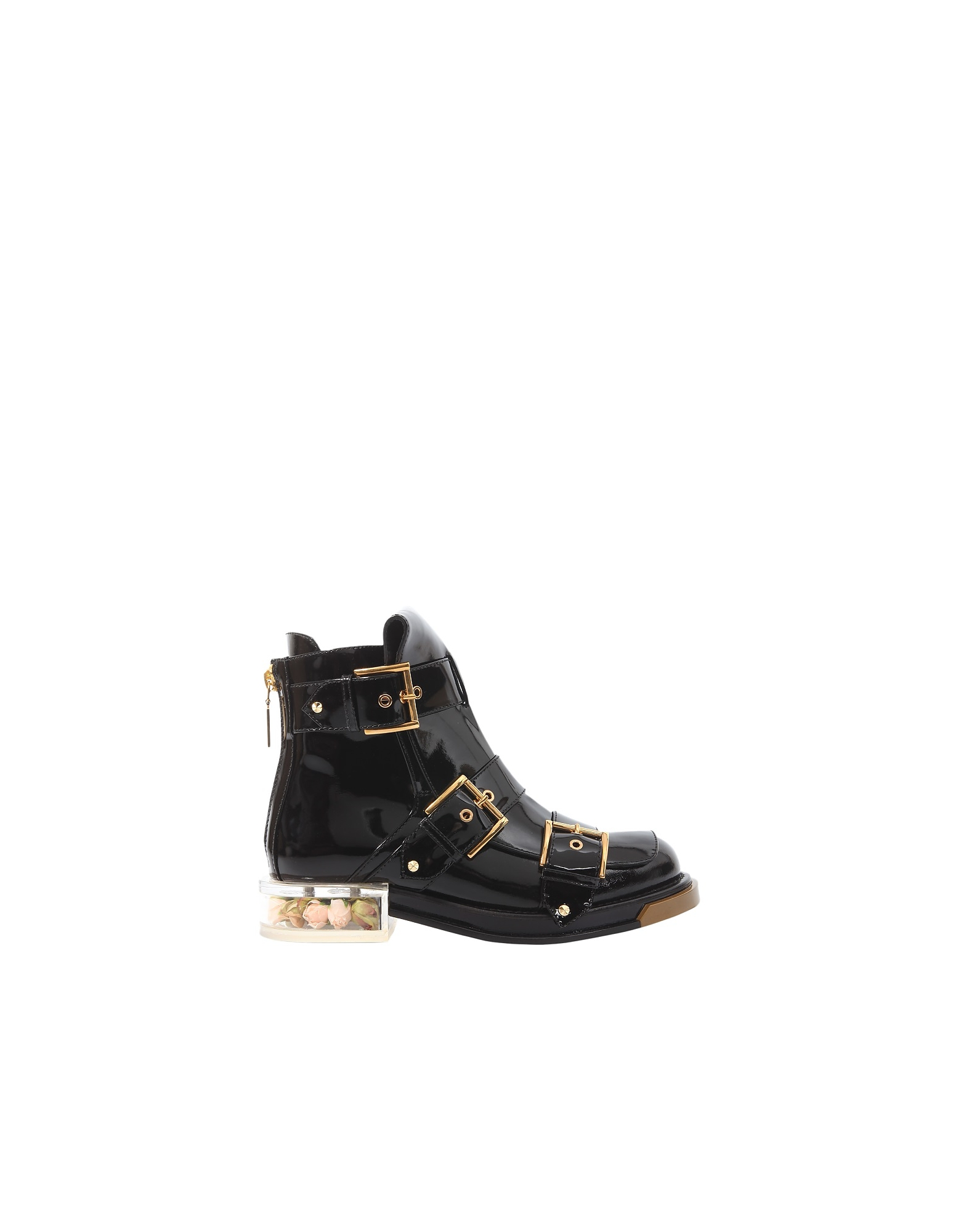 Alexander McQueen Designer Shoes, Black Patent Leather Buckle Boots