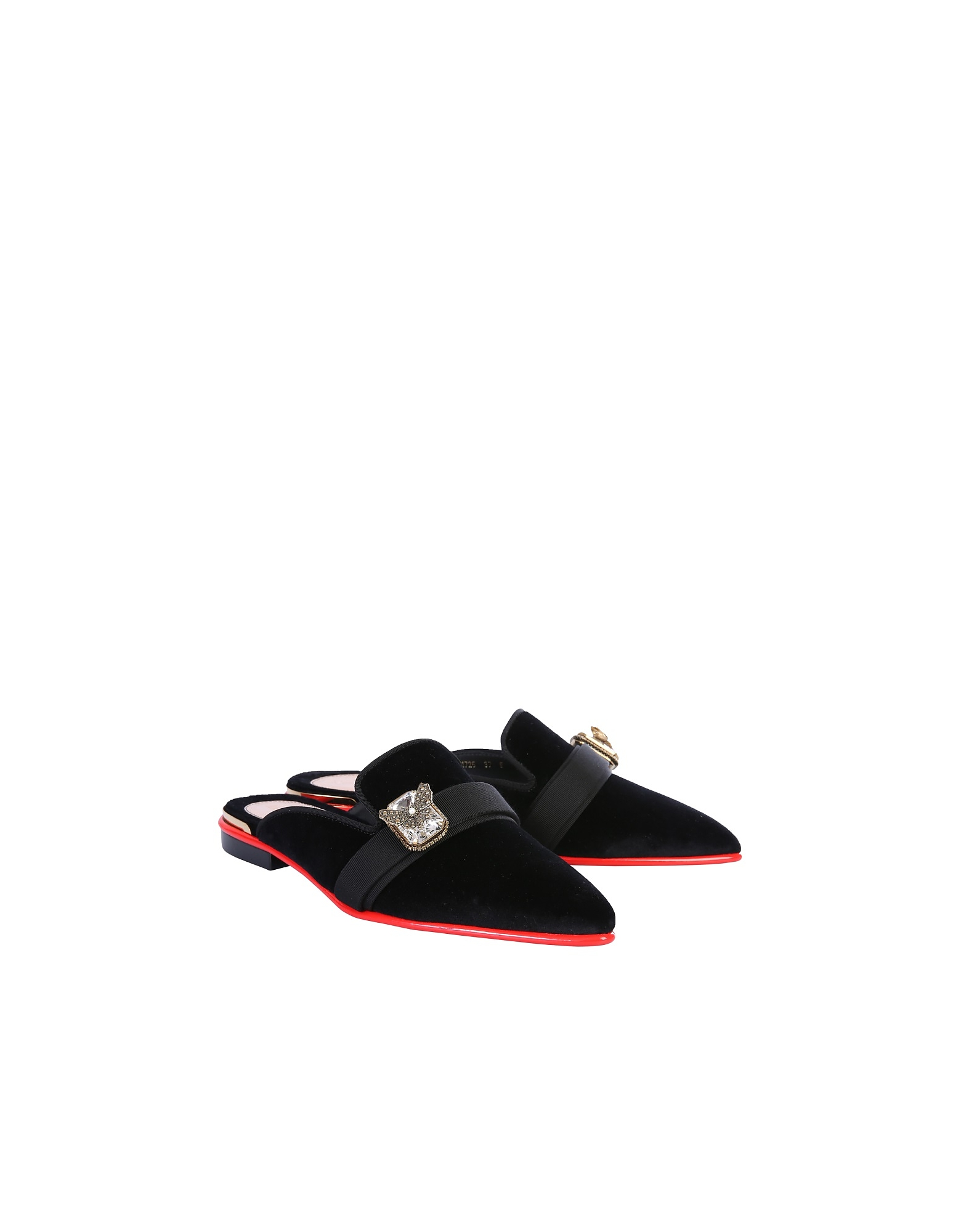 Alexander McQueen Designer Shoes, Black Velvet Jewel Mules