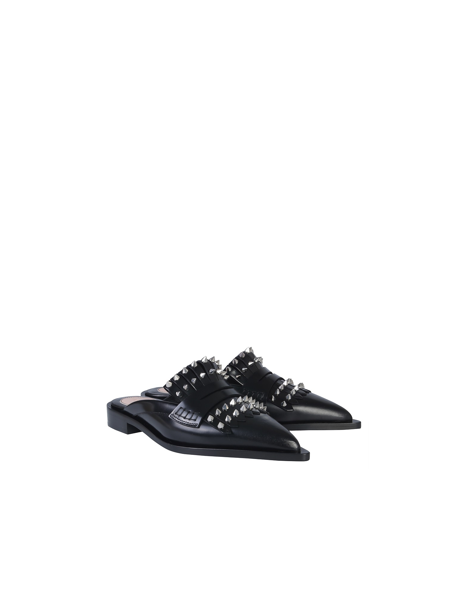 Alexander McQueen Designer Shoes, Black Leather Studded Mules